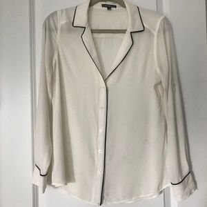Express Cream Blouse with Black Piping